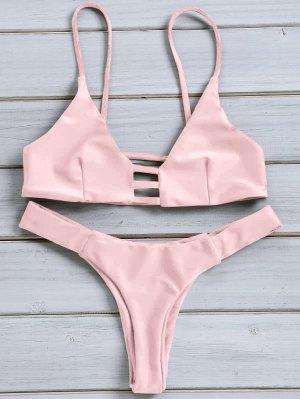Solid Color Spaghetti Strap Lace Up Bikini Set - Pink