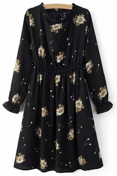 Round Neck Long Sleeve Retro Floral Print Dress