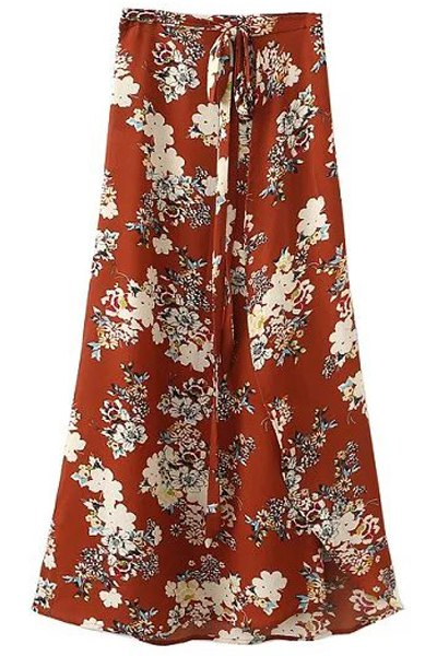High Waist A-Line Irregular Hem Flower Print Skirt