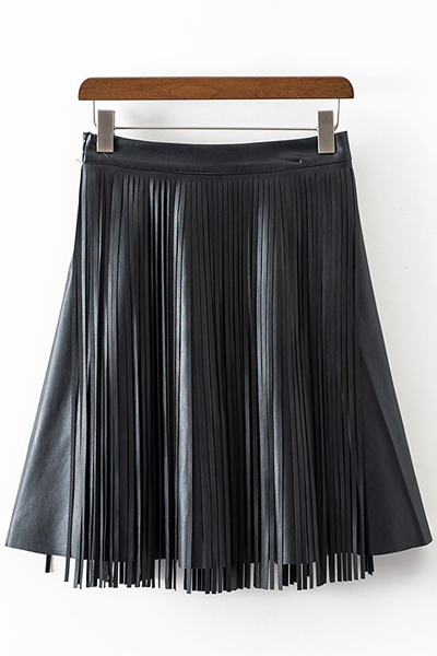 High Waisted Tassels Spliced PU Leather Skirt