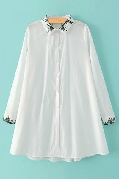 Embroidered Oversized White Shirt
