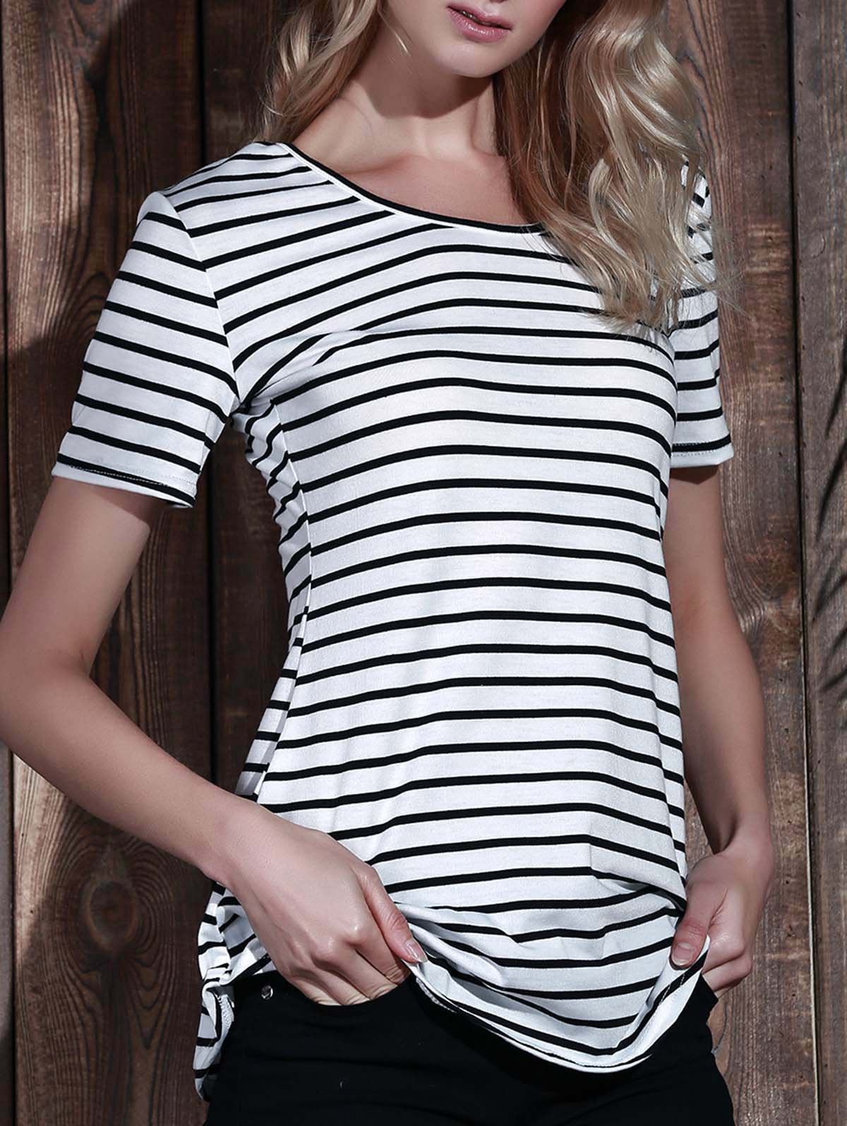 Short Sleeve Stripes Dress