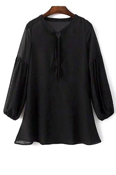 Lace-Up See-Through Black Chiffon Dress
