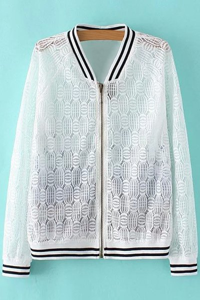 Lace Spliced Stand Collar Long Sleeve Printed Jacket 175282503