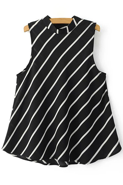Roll Neck Sleeveless Striped A-Line Top