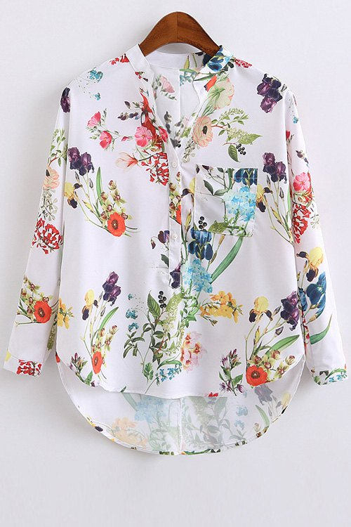 High Low Hem Stand Collar Floral Print Blouse 175312503