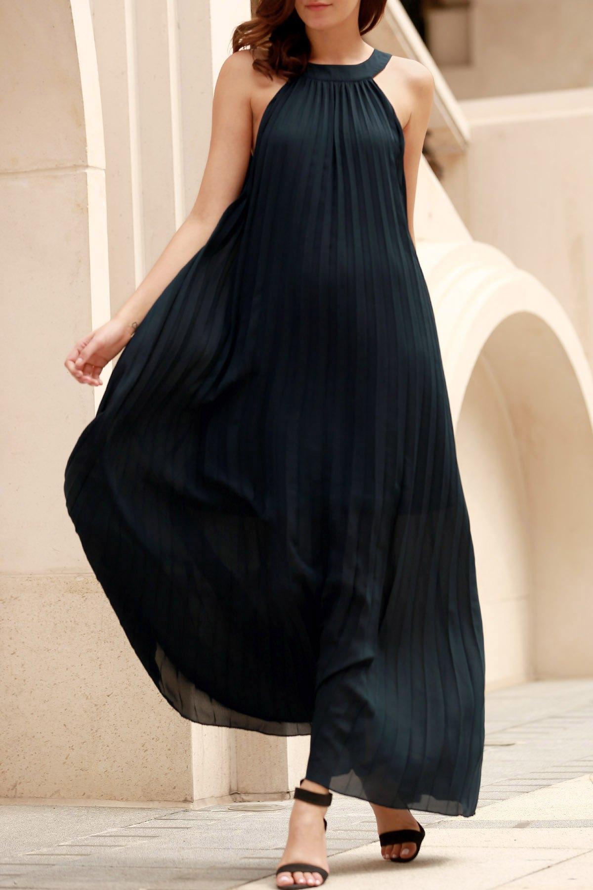 Round Neck Sleeveless Deep Blue Pleated Maxi Dress