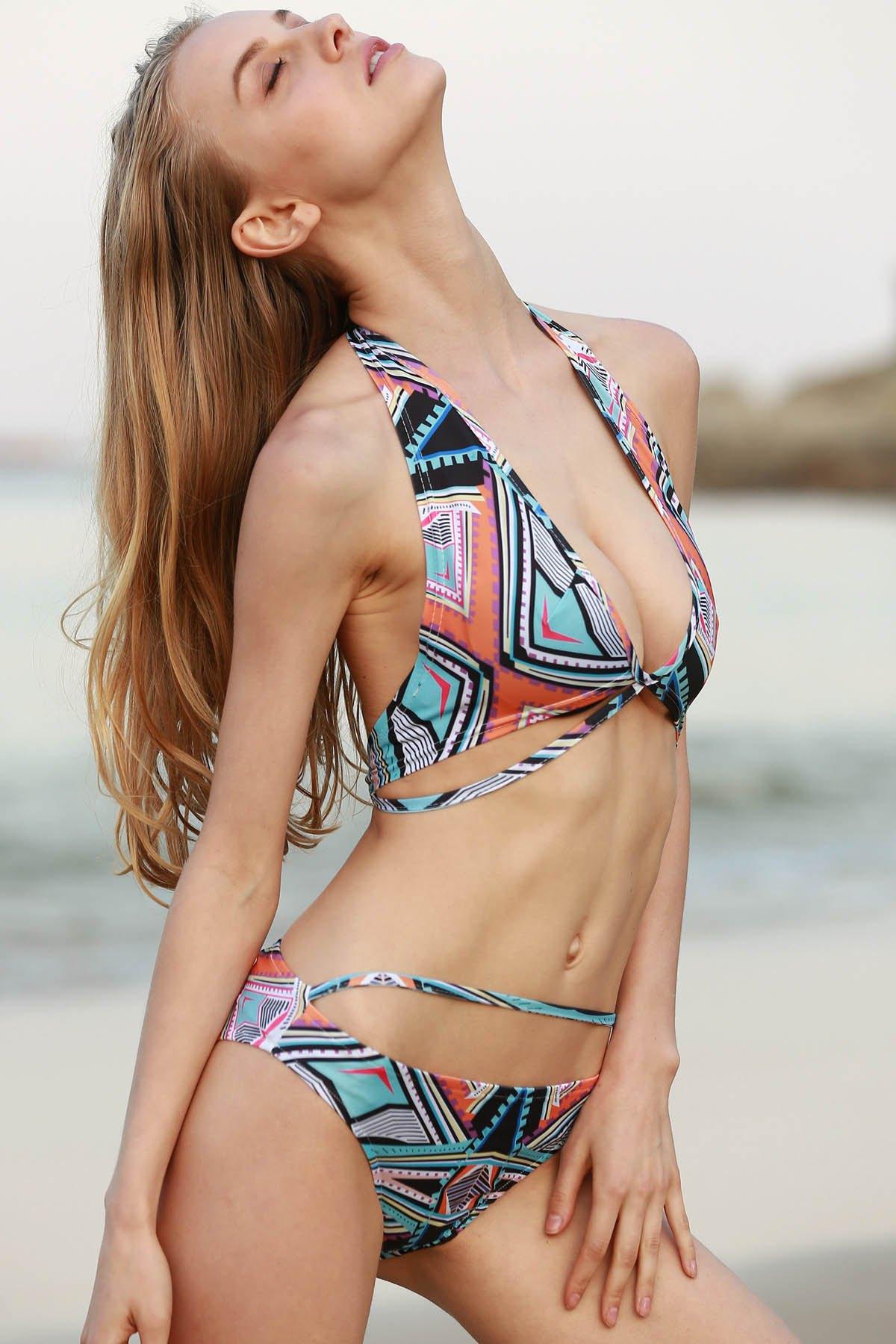 Halter Neck Printed Bikini Set