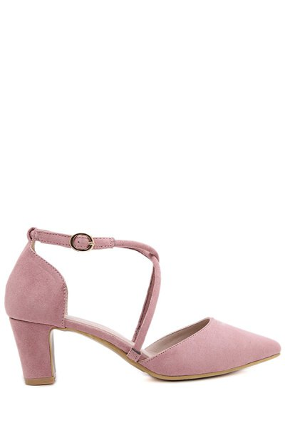Pointed Toe Cross-Strap Chunky Heel Pumps
