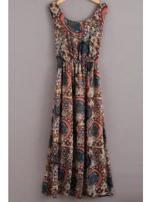 Vintage Printed Jewel Neck Sleeveless Dress