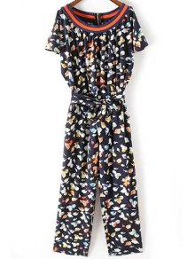 Fitting Flower Print Round Neck Short Sleeve Jumpsuit
