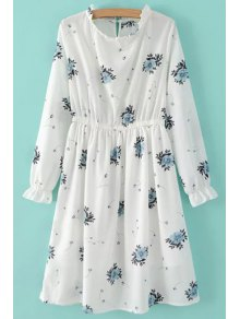 Retro Floral Print Round Neck Long Sleeve Dress