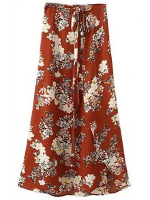 Irregular Hem Flower Print High Waist A-Line Skirt