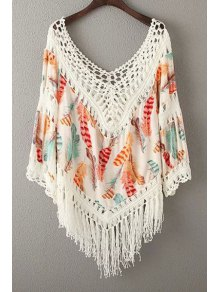 Tassels Spliced V-Neck Hollow Out Blouse