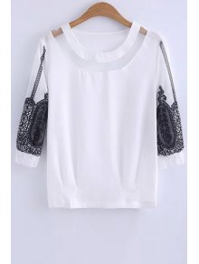Lace Spliced Round Collar 3/4 Sleeve Blouse