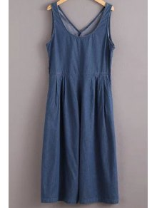 Solid Color Jewel Neck Sleeveless Denim Jumpsuit