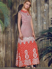 Red Print Round Neck Short Sleeve Maxi Dress RED: Maxi Dresses   ZAFUL