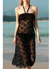 Solid Color Lace Cover Up Jupe - Noir