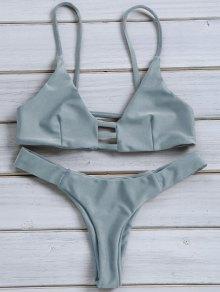 Solid Color Spaghetti Strap Lace Up Bikini Set - Blue Gray