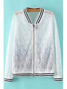 Lace Spliced Stand Collar Long Sleeve Printed Jacket