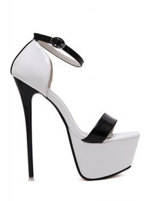 Platform Color Block Stiletto Heel Sandals