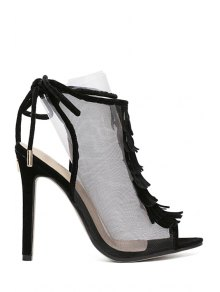 Peep Toe Gauze Fringe Sandals - Black 38