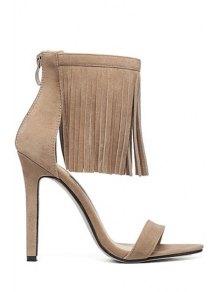 Solid Color Stiletto Heel Fringe Sandals - Apricot
