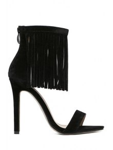 Solide Couleur Stiletto Sandals Talon Fringe - Noir