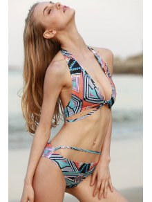 Halter Neck Printed Bikini Set
