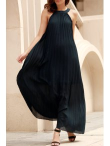 Deep Blue Pleated Sleeveless Maxi Dress - Deep Blue M