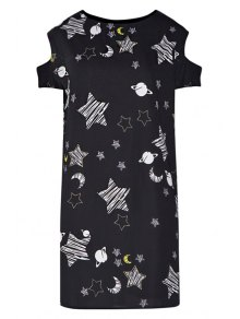 Star Print Hollow Short Sleeve Dress - Black Xl