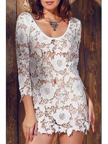 Scalloped Sheer Lace Cover Up - White