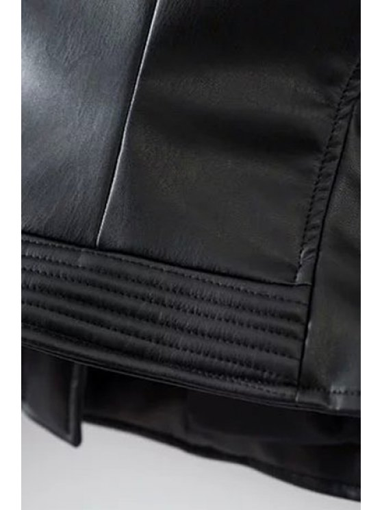 Embossed PU Leather Motocycle Jacket - BLACK XL Mobile