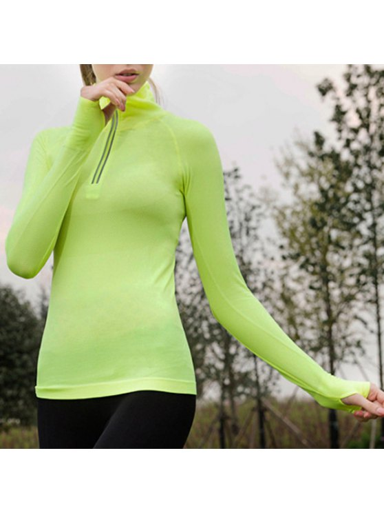 chic Zipped Tight Fit Long Sleeve T-Shirt - YELLOW S
