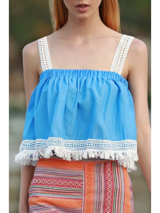 Tassels Blue Sleeveless Crop Top - AZURE S Mobile
