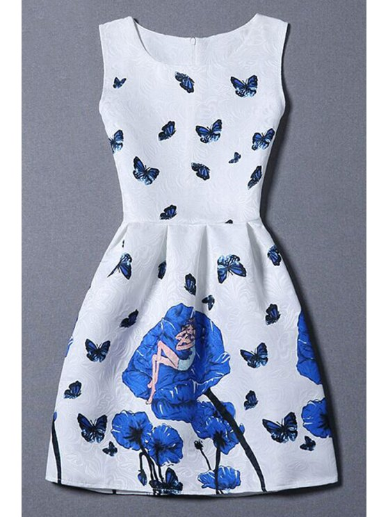 Butterfly and Rose Print Sleeveless Dress - WHITE M Mobile