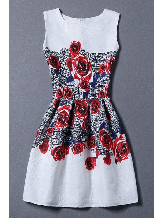 women Red Rose Print Sundress - WHITE M