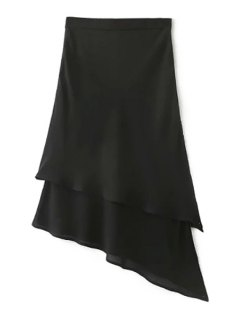 Solid Color Irregular Hem High Waist Chiffon Skirt - Black L
