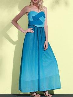 Ombre Color Sweetheart Neck Sleeveless Maxi Dress - Lake Blue Xl
