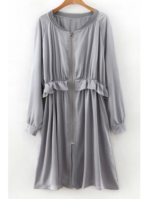 best Flounced Zip-Up Long Sleeve Trench Coat - GRAY L Mobile
