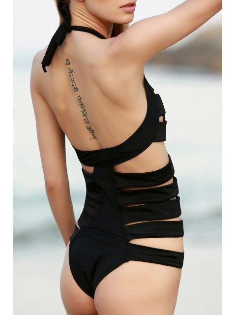 lady Rib Pattern One-Piece Swimwear - BLACK S Mobile