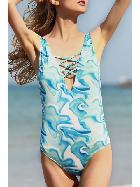 womens Open Back Plunging Neck One-Piece Swimwear - WATER BLUE L Mobile