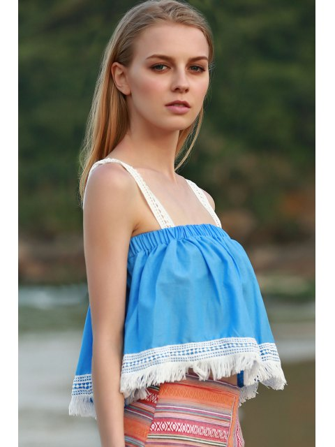 ladies Tassels Blue Sleeveless Crop Top - AZURE S Mobile