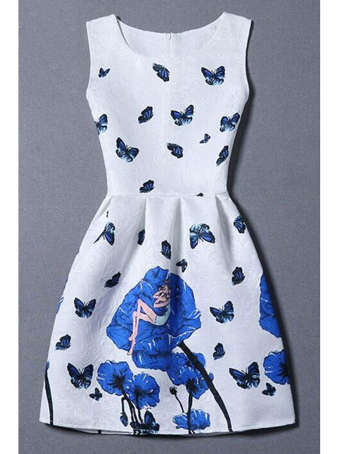 latest Butterfly and Rose Print Sleeveless Dress - WHITE M Mobile