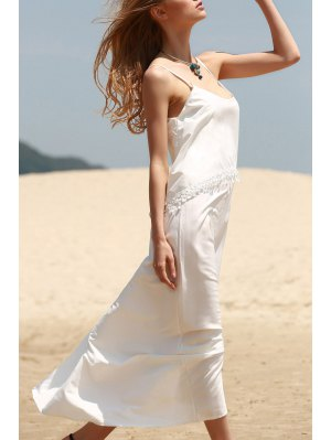 White Tassels Cami Maxi Dress - White