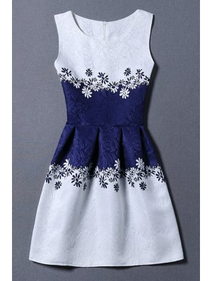 Jacquard Color Block Tank Dress - Blue And White
