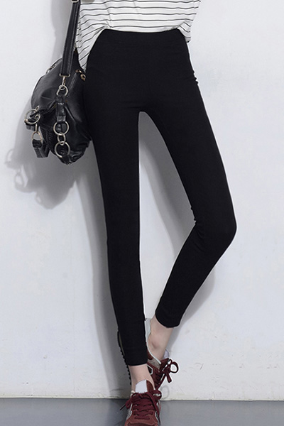 Solid Color High Waist Stretchy Leggings