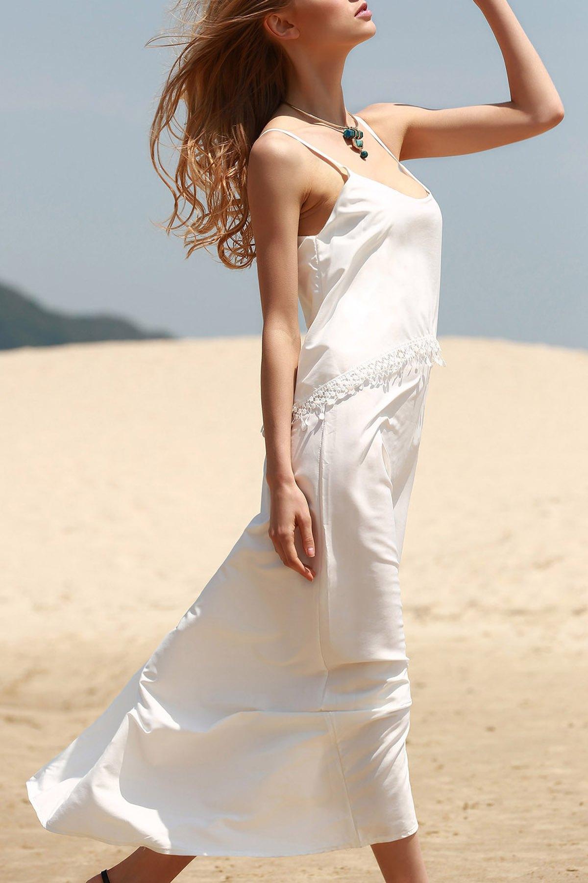 White Tassels Cami Maxi DressClothes<br><br><br>Size: S<br>Color: WHITE