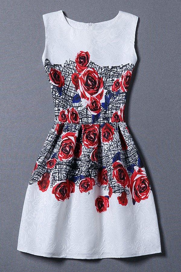 Round Neck Sleeveless Red Rose Print Sundress