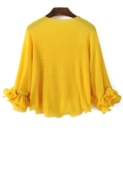 Round Neck Puff Sleeve Solid Color Blouse